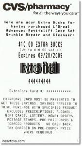 Jeden z przykładów paragonu z zarobionymi pieniędzmi za zakupy w danym sklepie.